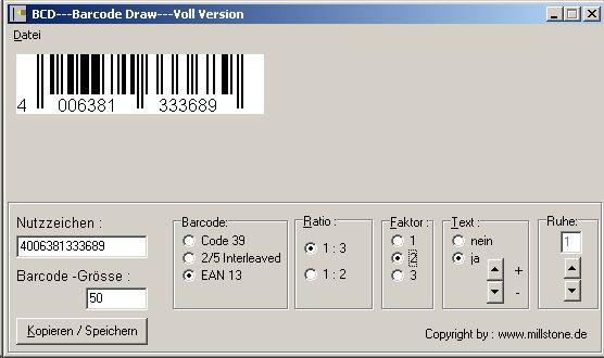 BCD Barcode Draw - Barcode Bild Grafik erzeugen - VDA Labels erzeugen